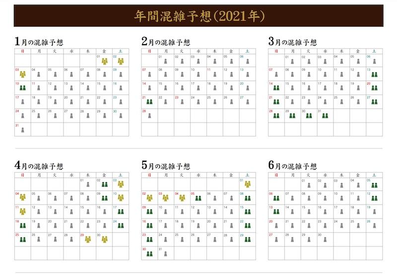 姫路城-混雑予想カレンダー